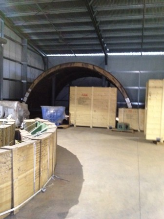7.32 m dia x 5.2m x 4750 kw Outotec SAG mill - girth gear quadrants, shell halves and other packed components-017